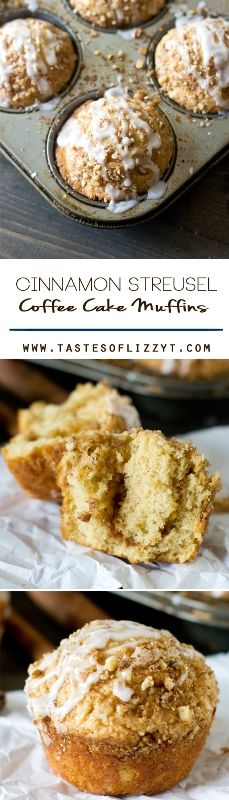 Cinnamon Streusel Coffee Cake Muffins Recipe - Tastes of Lizzy T. These simple Cinnamon Streusel Coffee Cake Muffins start with a boxed cake mix and pudding gives them their ultimate soft texture. Layers of cinnamon and sugary goodness!