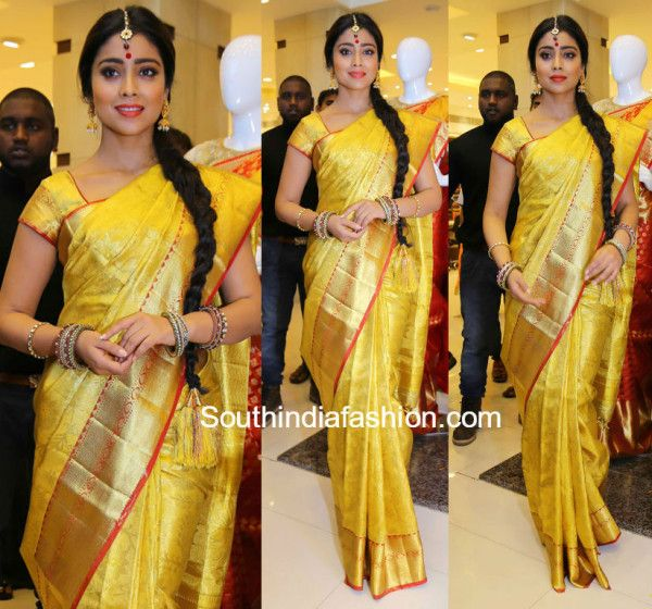 shriya_saran_yellow_kanjeevaram_saree_vrksilks_launch
