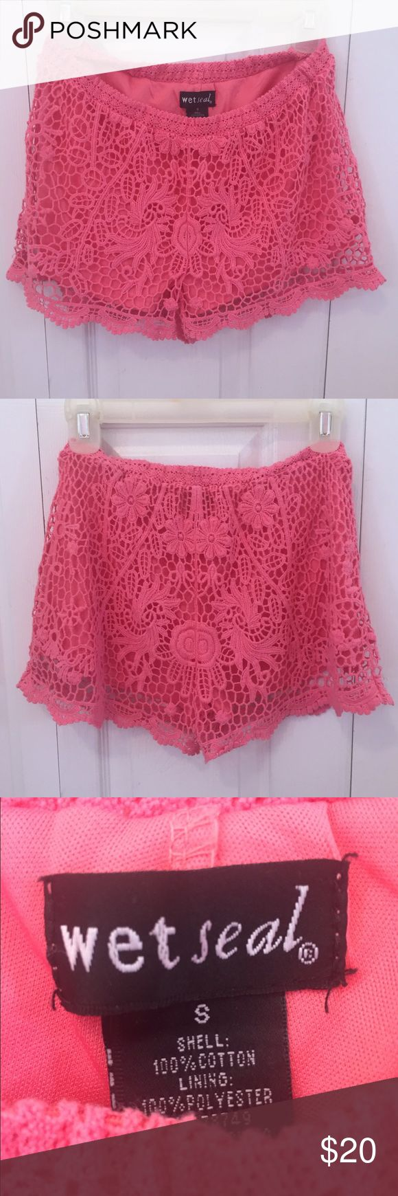 Wet Seal - Pink Crochet Lace Shorts Pink lace shorts from Wet Seal, Size Small, looks great with a cute white or black shirt Wet Seal Shorts