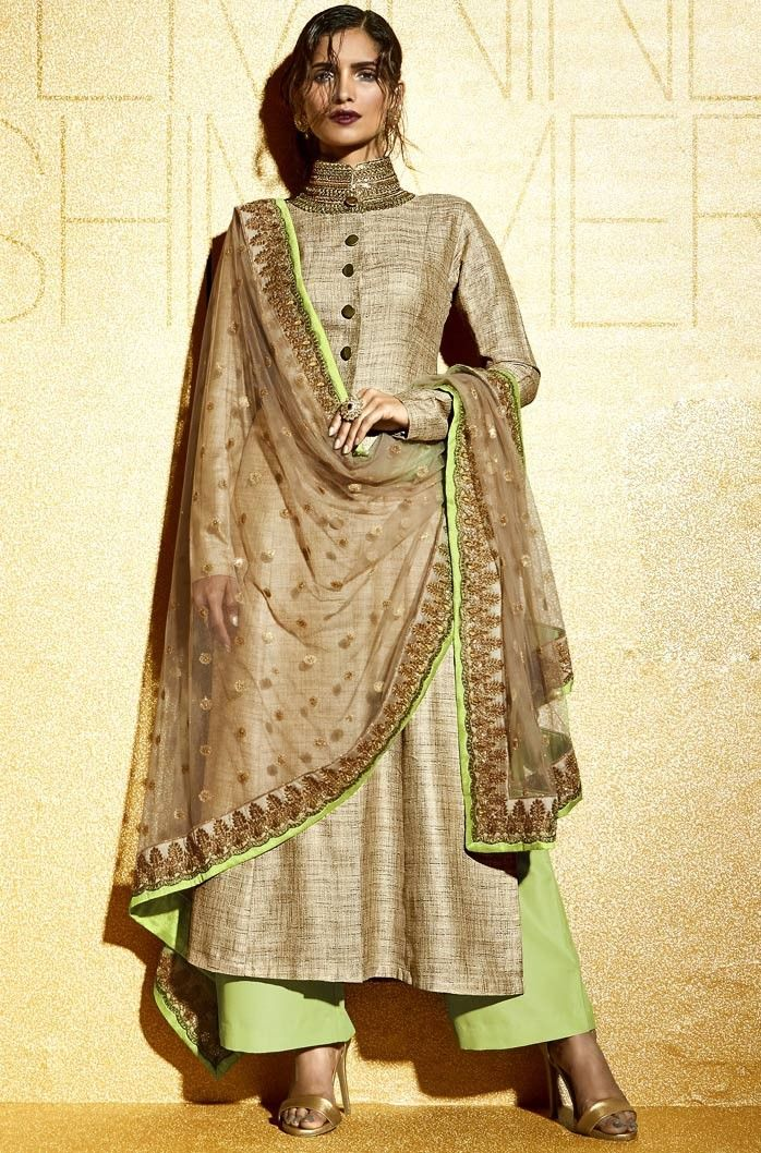 Beige Khadi Palazzo Pant Suit with Dupatta - Pakistani Wedding Fashion 2016