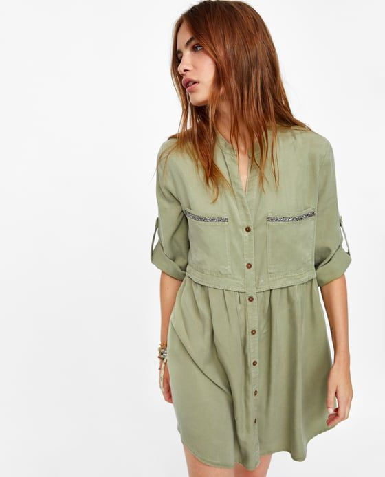 1d9bd37b2a Image 4 of BEADED SHIRT DRESS from Zara | CHAMBRAY TENCEL GROUP ...