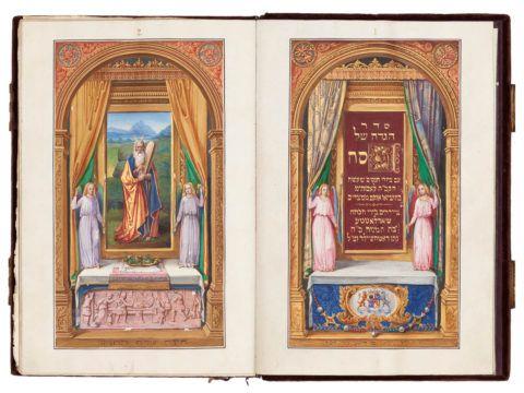Passover Haggadah, with German translation [Frankfurt?], copied by Eliezer Sussman Mezeritsch, decorated by Charlotte von Rothschild, 1842