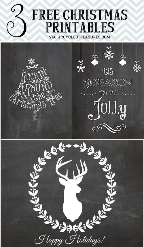 Free Chalkboard Christmas Printables from Upcycled Treasures: