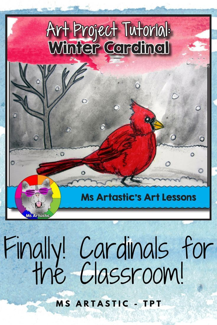 Winter art inspired by stunning cardinals! Use oil pastels and paint to create a winter, red cardinal art piece with your students! A perfect Christmas Art Lesson! This is a great way to keep them engaged when the snow falls this winter because, as we kno