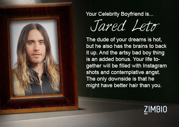 I took Zimbio's celebrity boyfriend quiz and my true love is Jared Leto! Who's yours?