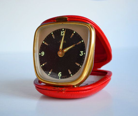 Mauthe  Vintage Travel Alarm Clock in Lovely Red by oldschoolvibes