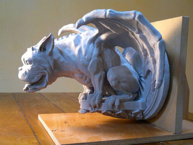 Gargoyle sculpture to be lostwax cast in bronze, for Fergbaker in Queenstown NZ. Made from sculpey polymer clay