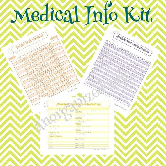 Downloadable Medical Information Printable ~ A place to keep your most important medical information. A must for home management binders or planners.