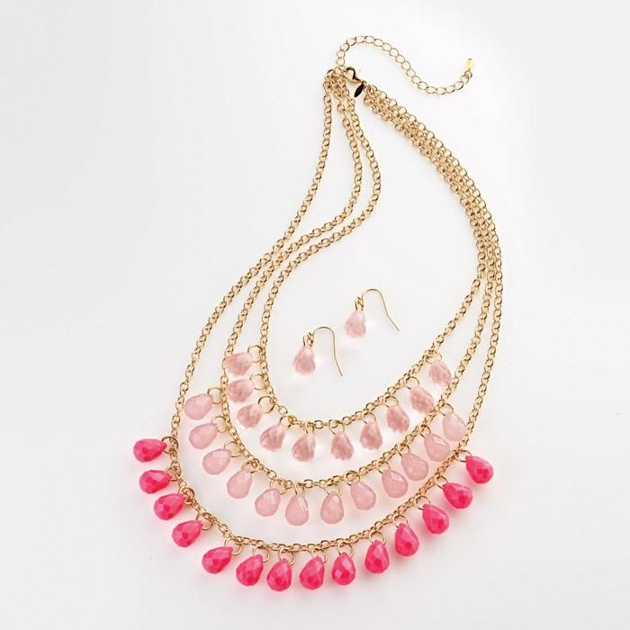 Flirty Teardrops Necklace and Earring Set. Avon. A glamorous necklace and earring set to elevate your classic wardrobe. Three row necklace with teardrop-shaped translucent and opaque faceted beads in graduating shades of pink or blue. Regularly $19.99.  FREE shipping with any $40 online Avon purchase.  #CJTeam #Avon #Style #Sale #Jewelry #Fashion #C10 #Gift #Mom #MothersDay  #GiftSet #Necklace #FlirtyTeardrops #Earrings #Avon4Me Shop Avon jewelry online @ www.TheCJTeam.com