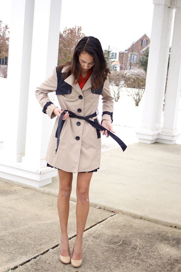 Tan and black trench coat, nude heels, red bow top, christmas holiday outfit 2014