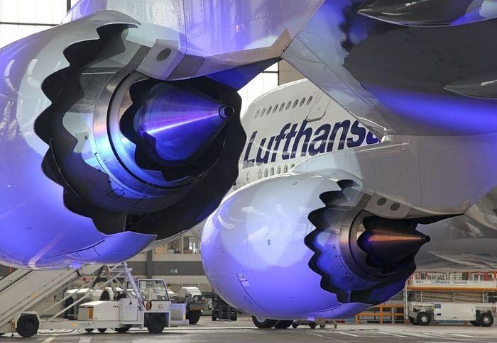 "Lufthansa Boeing 747-830 D-ABYA ""Brandenburg"" and a close-up view of its General…"