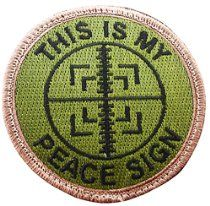 "[Single Count] Custom, Cool & Awesome {3"" Inches} Small Round US Armed This I s My Peace Sign Text Sniper Scope Cross Hairs (Tactical Type) Velcro Patch ""Green, Tan & Black"""