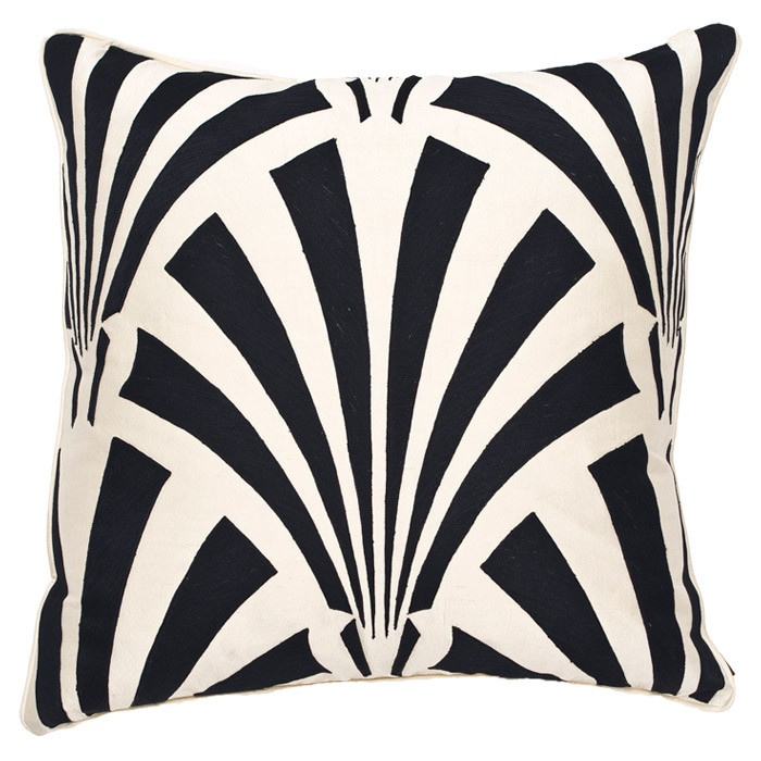 Art Deco pillow in monochrome. Black & white are a classic combination for deco motifs.