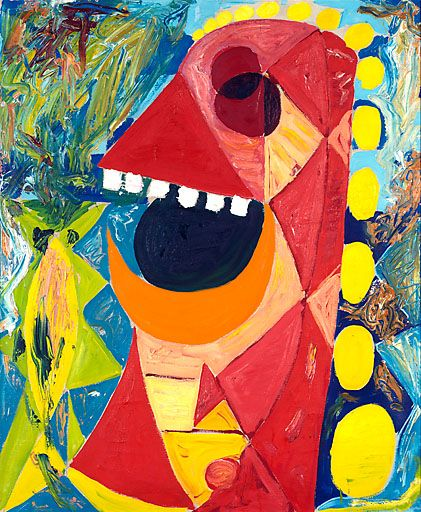 """Damish Egill Jacobsen """"Rødt objekt I (1938)"""" had a highly individual, painterly form of expression using intense colors. He was influenced by Matisse, Picasso and the masks of Africa."""