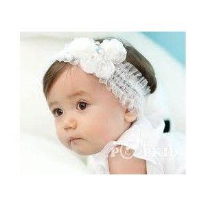Bandeau bébé fille dentelle blanc