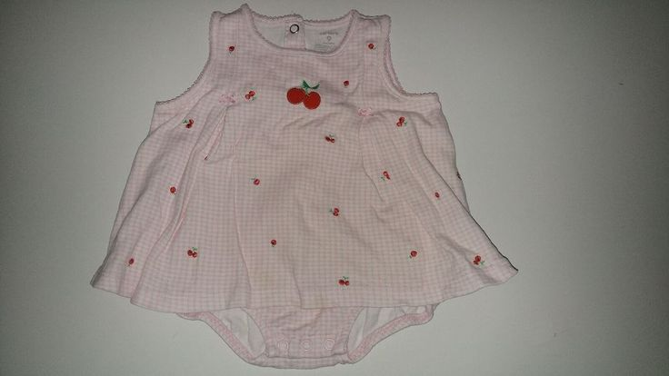 Carter's 9 mth. Cotton Checkered Cherry Bodysuit Romper Dress Pink,Red Baby Girl #Carters #Everyday