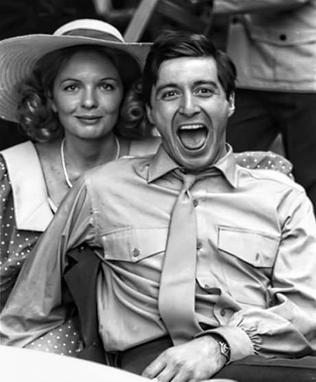 Diane Keaton and Al Pacino on set for The Godfather
