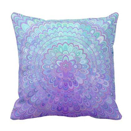 Mandala Flower in Light Blue and Purple Throw Pillow - decor gifts diy home & living cyo giftidea