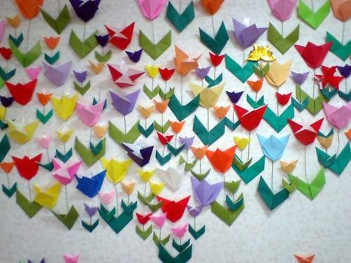 wall of origami flowers