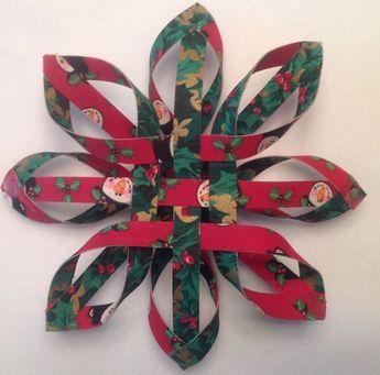 Fabric Woven Star Ornaments (Tutorial verwendet Kraftpapier)   – Christmas