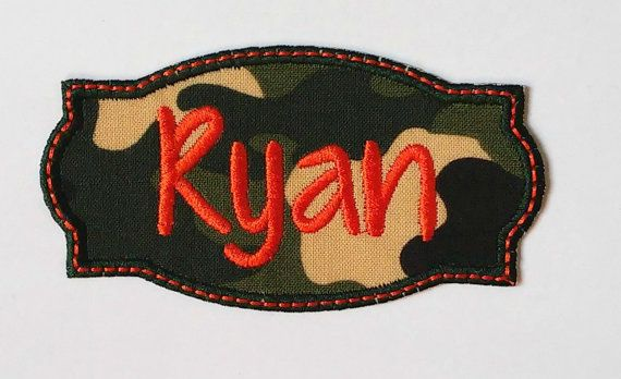Iron On Name Patch /Camouflage Name by LillianandLloydLLC on Etsy