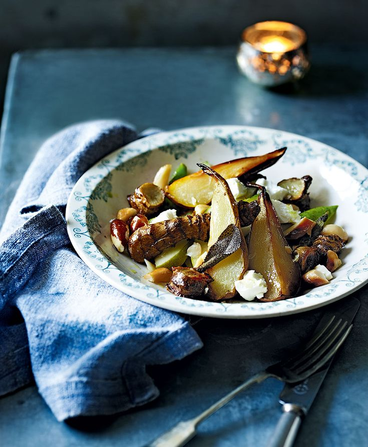 Nutty roast jerusalem artichokes go beautifully with the sweetness of the pears and tangy goat's cheese. A lovely winter salad recipe.