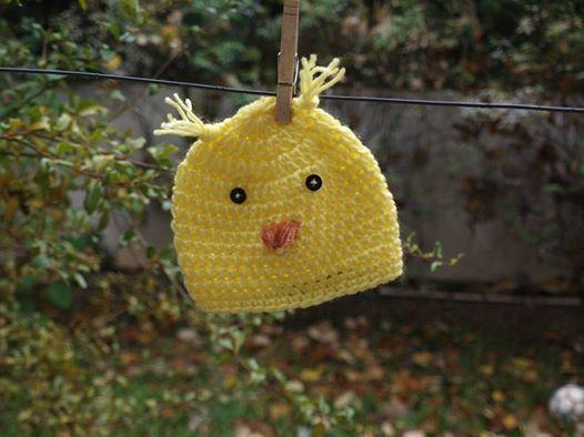 πουλάκι-σκουφάκι για παιδιά(crochet hat-bird)