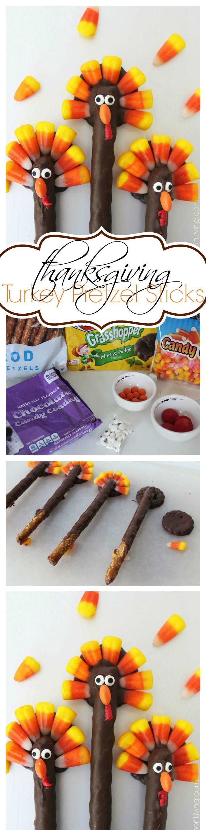 Turkey Pretzels – Thanksgiving Kids Food Craft. Chocolate Pretzel Rods with Candy Corn Features - Details on Frugal Coupon Living