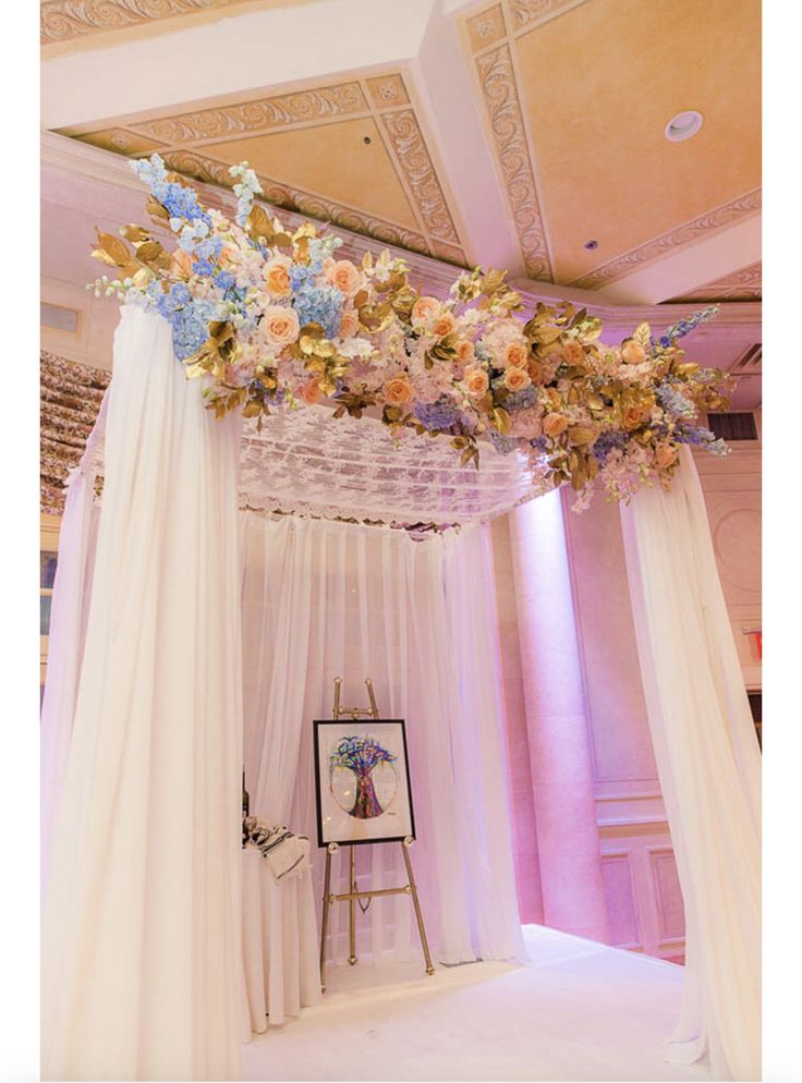 Rainbow Tree Ketubah under a chuppah. Featured in The Modern Jewish Wedding