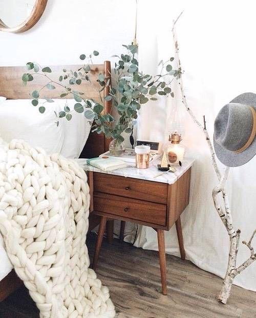 decor accessories wood nightstand in white bedroom