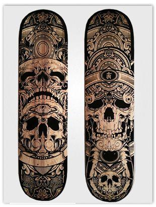 Laser etched engraved skate decks.