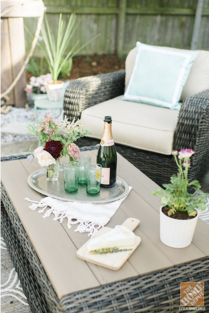 After taking a peek at this outdoor design makeover inspiration from The Home Depot and @stylewthinreach your patio will be ready for summer! Check out their DIY bar cart finished in BEHR PREMIUM® Semi-Transparent Weatherproofing Wood Stain,  perfect for outdoor entertaining. Plus, these decor tips and tricks are ideal for renters and only took 2 weeks to complete.