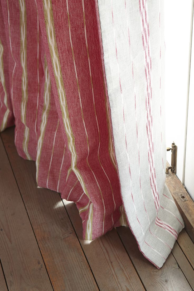Baltic Stripe in Sweet Pea / Lime reverse in Clay / Sweet Pea