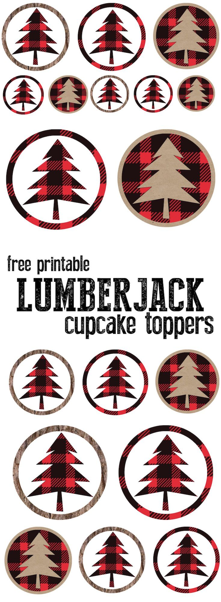 Lumberjack cupcake toppers free printable for your lumberjack themed birthday party or baby shower. Add easy decor to your party.