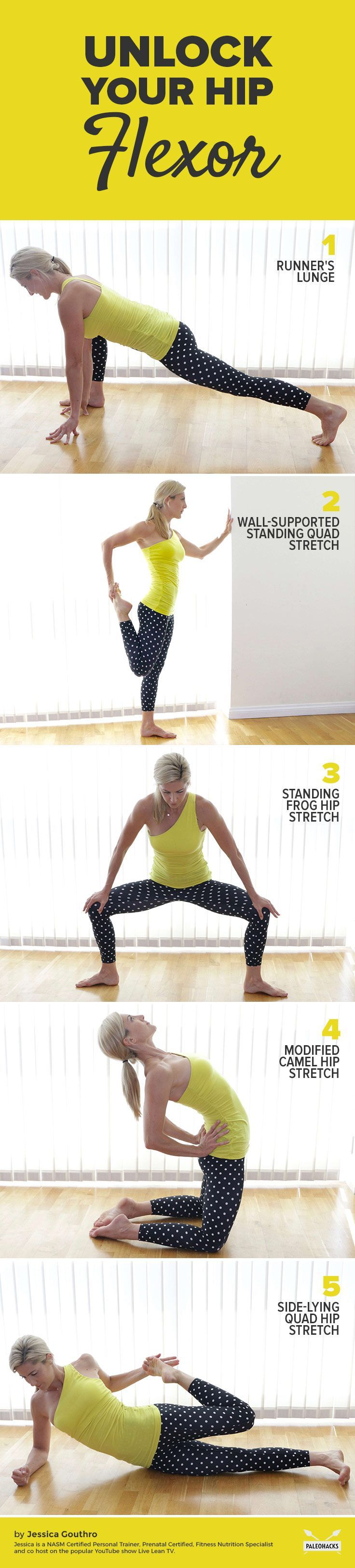 Do you sit for most of the day? Think about it. Whether you're  driving to work or sitting at your desk (at work), sitting takes up a  big chunk of our day. Get the full stretching routine here: http://paleo.co/5hipflexorstretches