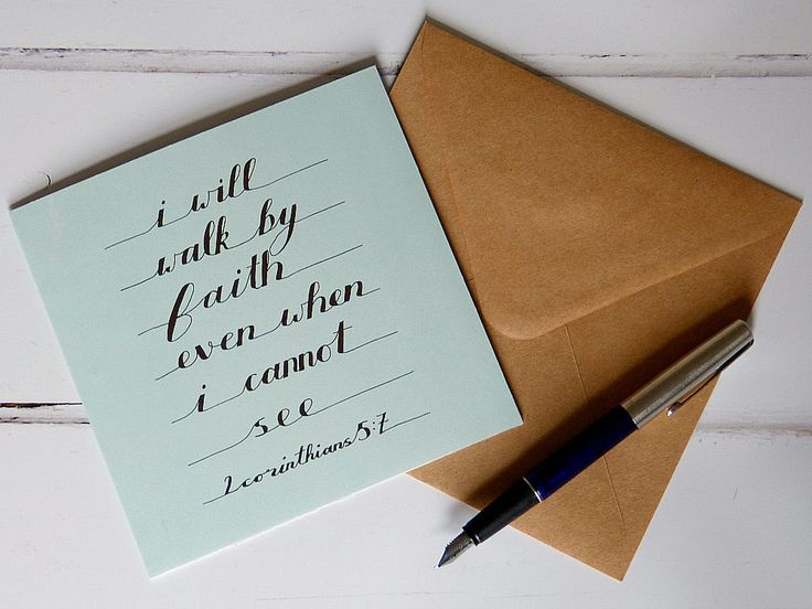 Handmade Real Foil Greeting Card - Holy Bible Quotation - 2 Corinthians 5:7 by MyMumAndMeQuotes on Etsy