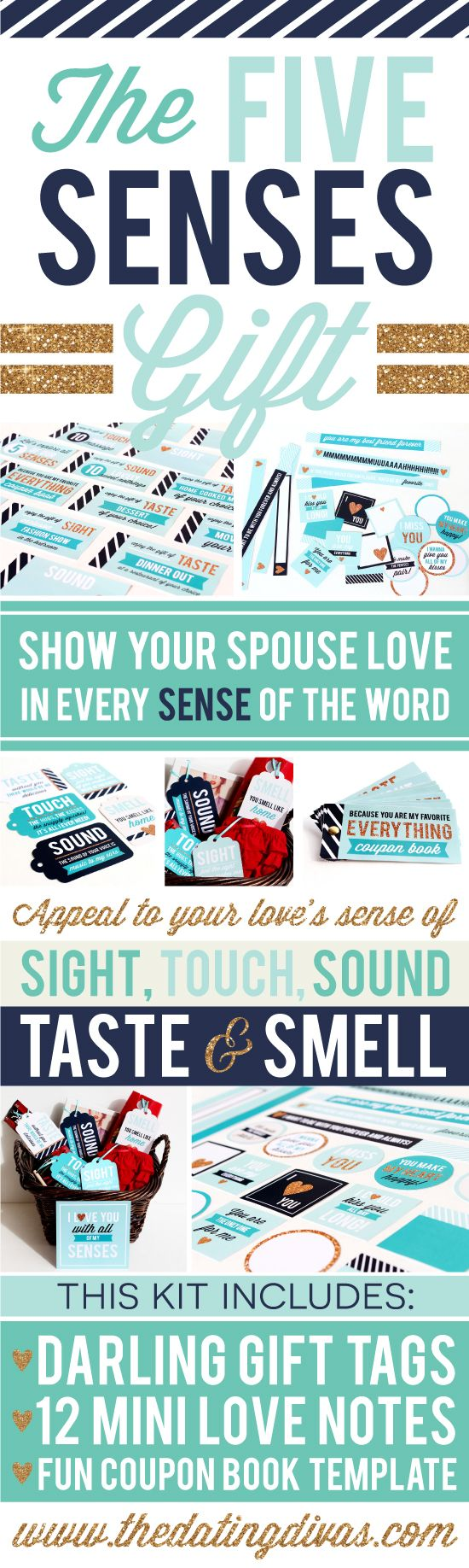 Five Senses Gift Printable Pack - This would make a great Valentine's Day for your significant other!