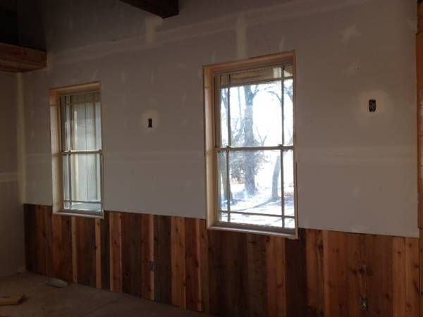 Natural grainy wood half wall paneling for the home Curtains for wood paneled room