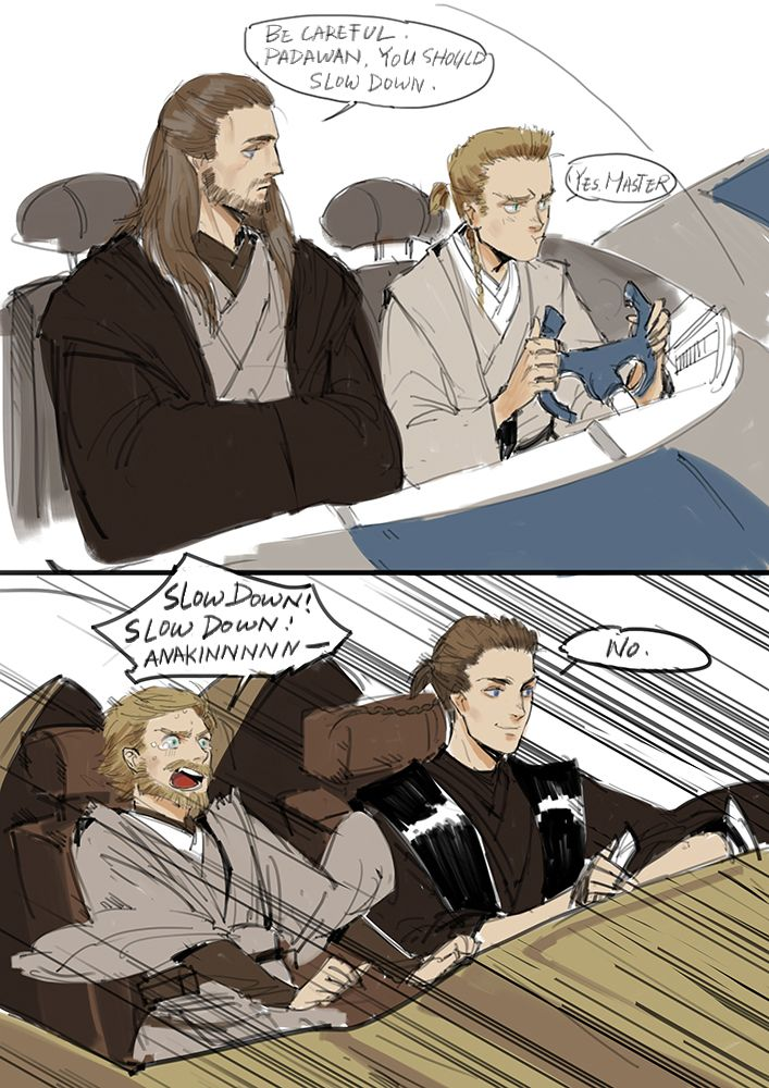 Anakin doesn't care about the speed limits like Obi-Wan does. XD