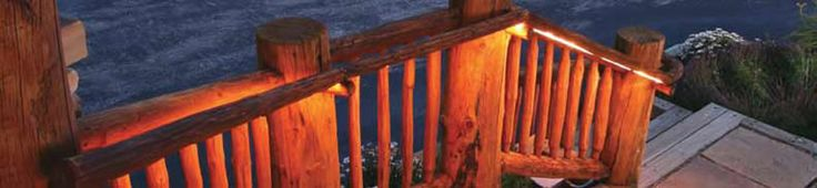 Log Cabin porch and steps subtly lit with American Lighting LR-LED Series UL Listed LED Flexbrite Rope Light Kits  Architectural Outlines and Rope Lighting - Step Light, Deck Light, Undercabinet Light...