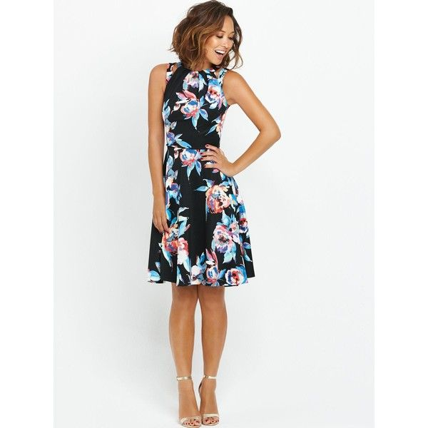Myleene Klass Split Strap Scuba Dress (£38) ❤ liked on Polyvore featuring dresses, white going out dresses, floral dress, white night out dresses, print dress and white dress