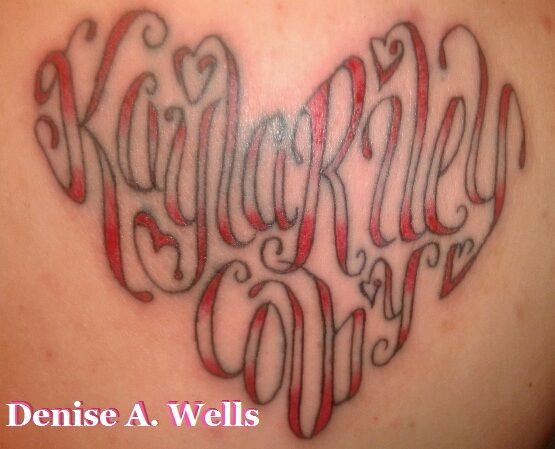 """Original Pin: """"The names Kayla, Riley and Colby made into a heart shape.    I have been designing lettering for over 20 years now. If you are interested in having me make you a custom tattoo design, you can contact me at deniseawells40@gmail.com or denyceangel_40@yah How To Tattoo - Tattoo Designs. https://www.youtube.com/watch?v=Vp8D9On1VoU """""""