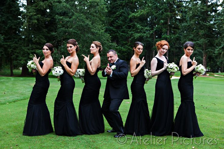 James Bond wedding, black bridesmaids dress: Nick + Whitney, photo by: Atelier Pictures