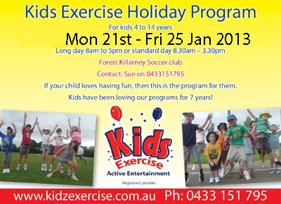 Summer Holiday Fun with Kids Exercise, book now.