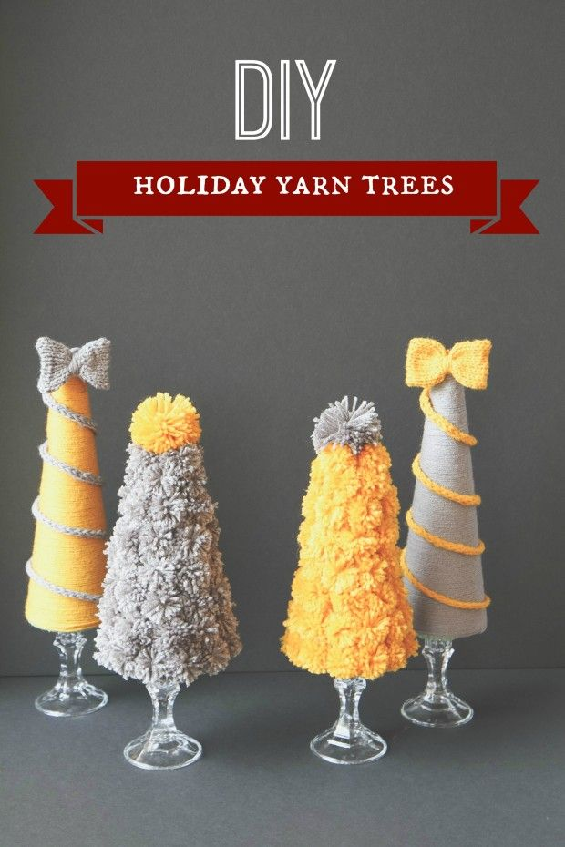 DIY Holiday Yarn Pom Pom Trees