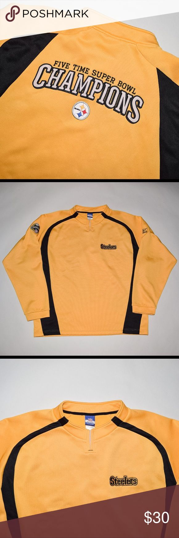 Reebok NFL Pittsburgh Steelers Champions Sweater Brand: Reebok NFL Team Apparel Item name: Pittsburgh Steelers 5 Time Champions Pullover Sweater Jersey Color: Gold / Black Condition: This is a pre-owned item. There is a very small stain on the right sleeve below the patch but otherwise it is excellent condition with no rips, holes, etc. Comes from a smoke free household. Size: XL Material: 100% polyester  Measurements:  Pit to Pit - 28 inches Neckline to bottom - 31 inches Reebok Sweaters…