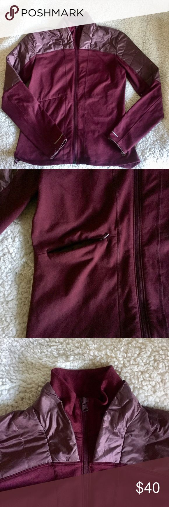 Mountain Hardwear Plum Insulated Zip Up Jacket Beautiful plum/burgundy Mountain Hardwear jacket. Perfect for layering in this cold weather or for exercising in the morning or at night :-) The jacket features a reflective mountain hard wear logo at the bottom left side of the front and the nape of the neck as well as insulation inside the jacket.  Only worn about two times and was purchased new last year. Open to negotiation ❄️🌹 Mountain Hardwear Jackets & Coats