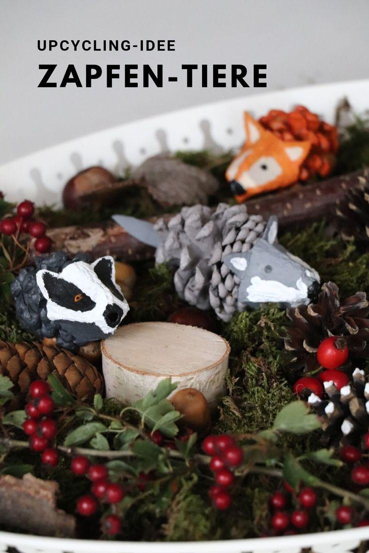 Upcycling Idea Cones Animals: Herbstdekoration kann am besten aus natürlichen Materialien hergestellt werden …   – Gruppenboard Bastelideen für Kinder