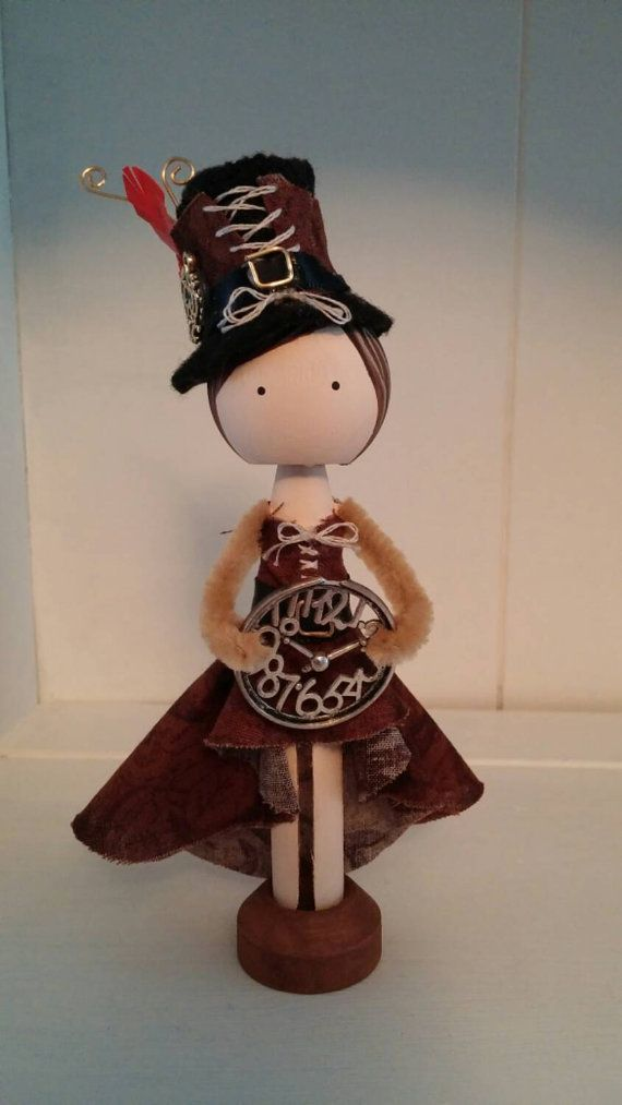 Steampunk style in an adorable clothespin doll. Hand painted. Handmade hat. Great gift idea for any collector or fan of the style
