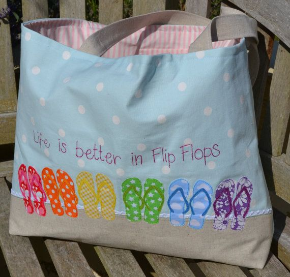 Beach Bag 'Life is better in Flip Flops' Rainbow by TheFernery, £69.00